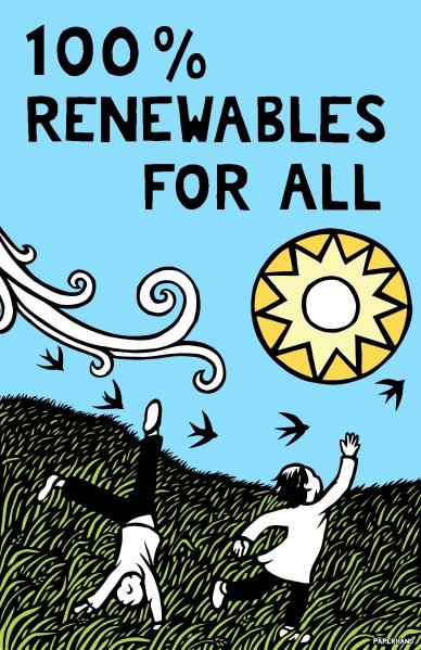 100% renewables color open sky